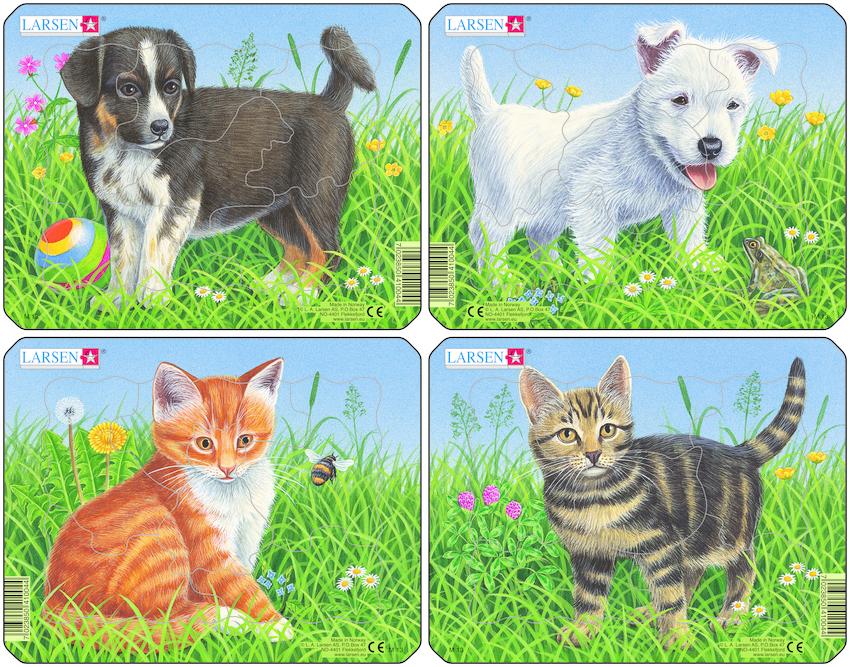 Пазлы для детей Кошки и Собаки, 6 деталей Larsen